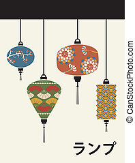 Japan lamps background - Orient lamps with flowers pastel...