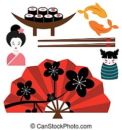 Japan landmark travel vector icons collection culture sign...