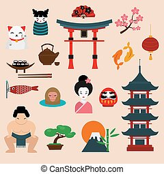 Japan landmark travel vector icons elements - Japan landmark...