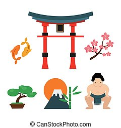 Japan landmark travel vector icons. - Japan landmark travel...
