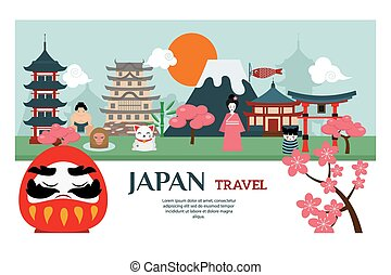 Japan landmark travel vector poster. Japan culture design...
