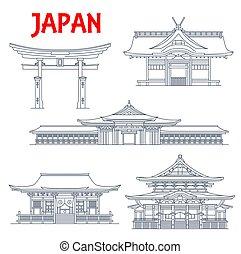 Japan landmark icons, temples in Tokyo, pagodas and Torii Gates in Itsukushima Ryobu, vector. Japan travel architecture landmarks Kokubunji temple Zenko-ji in Nagano, Sumiyoshi-taisha shrine in Osaka