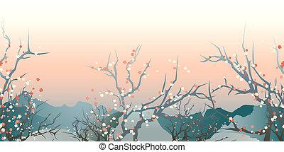 japan landscape - horizontal seamless pattern japan early...