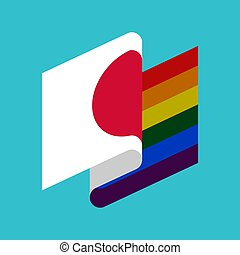 Japan LGBT flag. Japanese Symbol of tolerant. Gay sign rainbow