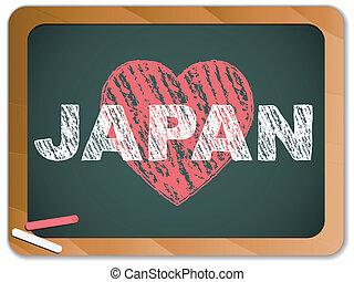 Japan Love on Blackboard. Earthquake and Tsunami Design