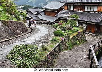 Japan - famous Nakasendo trail in Magome old town. Old route hundreds of years old.