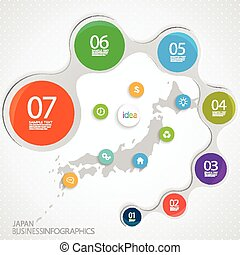 Japan Map and Elements Infographic. Vector illustration