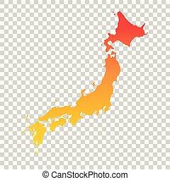 Japan map. Colorful orange vector illustration