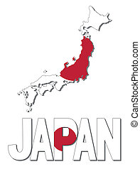Japan map flag and text