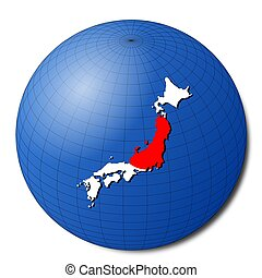 Japan map flag on abstract globe illustration