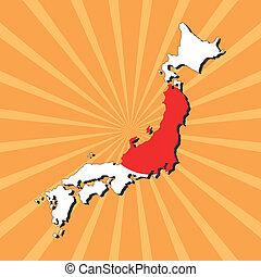 Japan map flag on sunburst