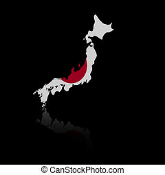 Japan map flag with reflection