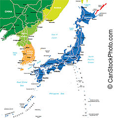 Highly detailed vector map of Japan with main cities and roads.
