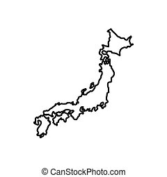 Japan map icon, outline style
