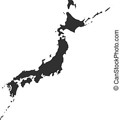 JAPAN: Map, VECTOR High Detailed Illustration, Black Country Silhouette.