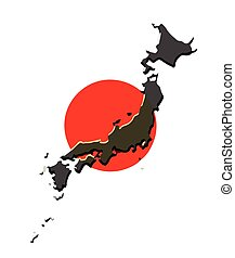 Vector Of Japanese Wave With Japan Red Flag Sunshine Vector - Japan map red