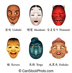 Japan masks VI - Japanese masks - usobuki, masukami,...