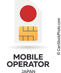Japan mobile operator. SIM card with flag.
