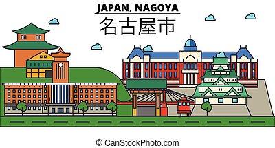 Japan, Nagoya. City skyline architecture, buildings,...