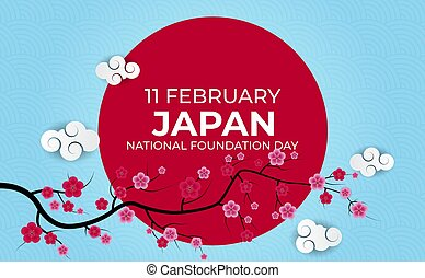 Japan Nation Foundation Day realistic 3d Background with sakura Flowers. 11 February. Vector Illustration EPS10
