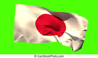 Japan national flag blowing in the wind