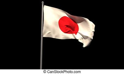 Japan national flag waving