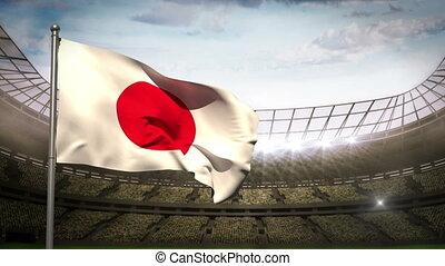 Japan national flag waving on stadi - Japan flag waving on...
