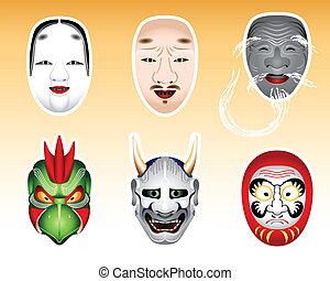 Traditional japanese theater masks - koomote, chujo, kokushikijo, karura, hannya, daruma. Daruma mask is my original design.