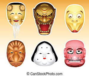 Japan Noh and Kyogen masks | Set 3 - Traditional japanese ...
