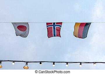 Japan Norway Germany Flags