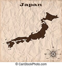 Japan old map with grunge and crumpled paper. Vector illustration