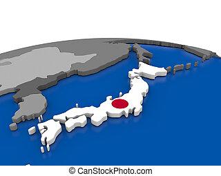 Japan on 3D globe