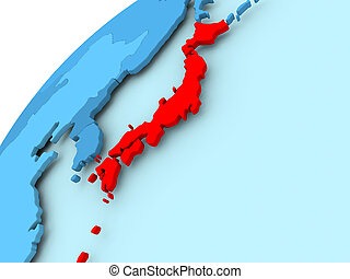Japan on blue globe