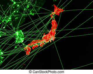 Japan on green map