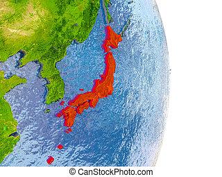 Japan on realistic globe