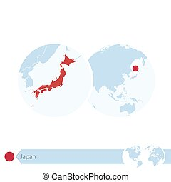 Japan on world globe with flag and regional map of Japan....