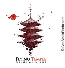Japan origami paper art - castle shaped from flying paper birds - vector