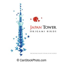 Japan origami tower