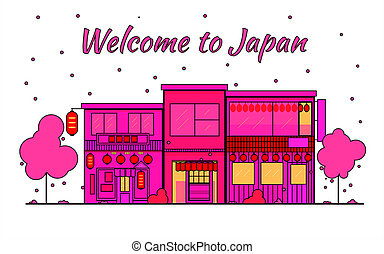 Japan outline horizon. Old Town, shopping old streets. Japan cityscape, Japanese travel city banner. City silhouette. Sakura blooming and falling leaves petals. Red light district.