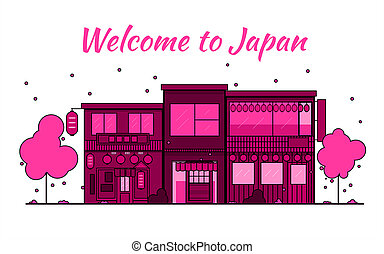 Japan outline horizon. Old Town, shopping old streets. Japan cityscape, Japanese travel city banner. City silhouette. Sakura blooming and falling leaves petals.