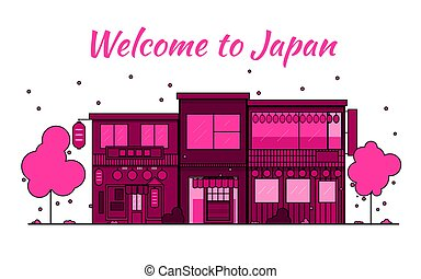Japan outline horizon. Old Town, shopping old streets. Japan cityscape, Japanese travel city vector banner. City silhouette. Sakura blooming and falling leaves petals.