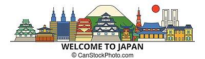 Japan outline skyline, japanese flat thin line icons, landmarks, illustrations. Japan cityscape, japanese travel city vector banner. Urban silhouette
