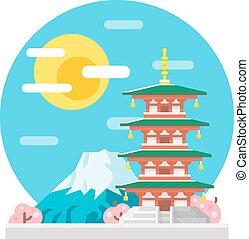 Japan pagoda flat design landmark