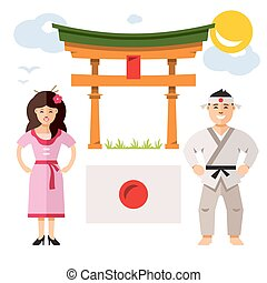 Japan people. Vector Flat style colorful Cartoon...