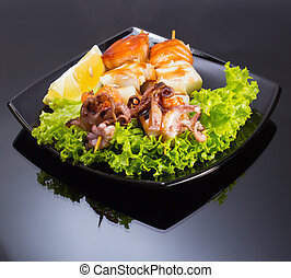 Japan Plate of Shish Kebab from sea food