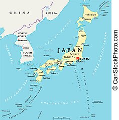 Japan Political Map - Japan political map with capital Tokyo...