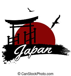 Japan in vitage style poster, vector illustration