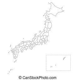 Japan Prefectures Map - Blank political map of Japan. ...