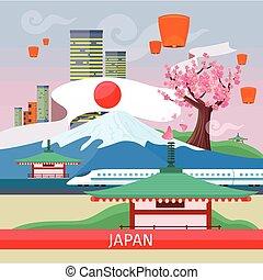 japan, reisen, banner., wahrzeichen, japanisches