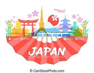 japan, rejse, landemærker